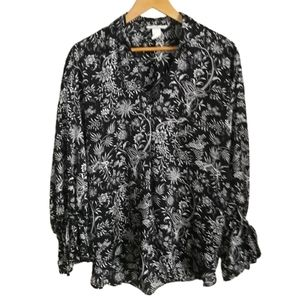 3/30$ H&M Black & White Botanical Print Oversized Blouse Button Front Size Small